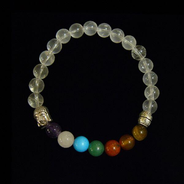 Hegyikristály csakra karkötő Buddhával