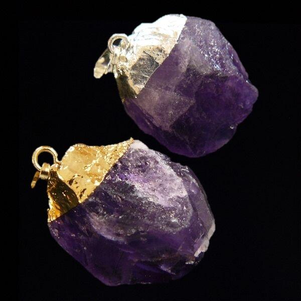 Natúr ametiszt kristály medál