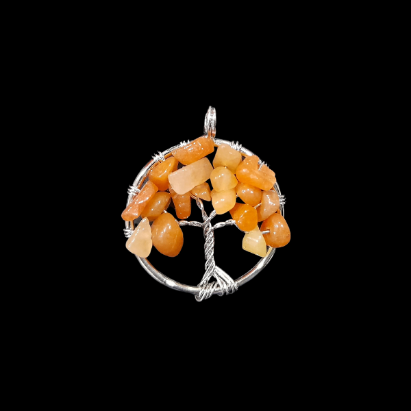 Narancs karneol életfa medál kicsi
