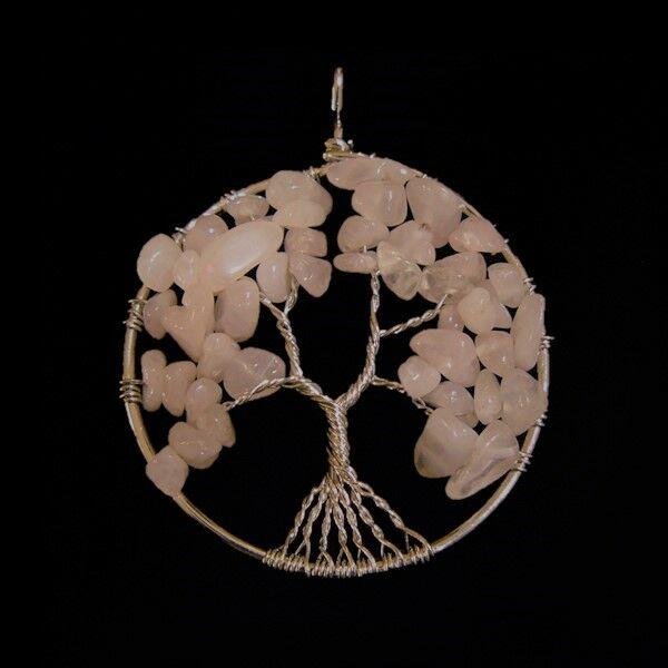 Rózsakvarc életfa medál