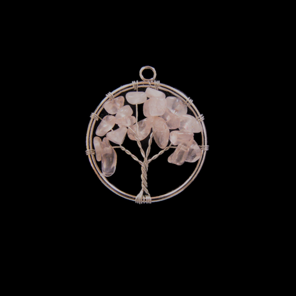 Rózsakvarc életfa medál kicsi