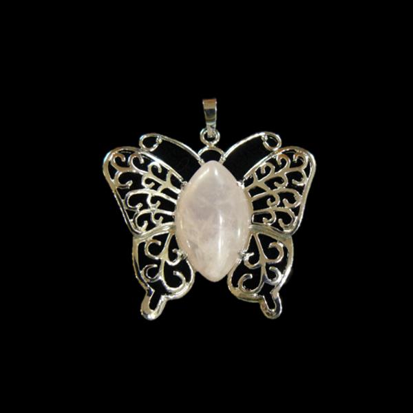 Rózsakvarc pillangó medál